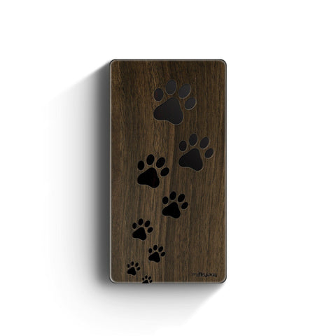Walnut Power Bank Charger - Paw Prints