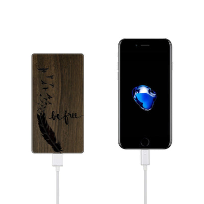 Walnut Power Bank Charger - Be Free - Milkyway Cases -  iPhone - Samsung - Clear Cut Silicone Phone Case Cover