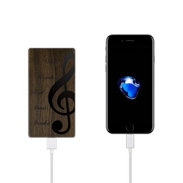Walnut Power Bank Charger - When Music Speaks - Milkyway Cases -  iPhone - Samsung - Clear Cut Silicone Phone Case Cover