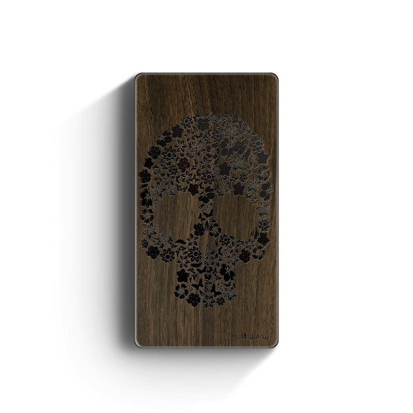 Walnut Power Bank Charger - Kahoy Floral Skull - Milkyway Cases -  iPhone - Samsung - Clear Cut Silicone Phone Case Cover