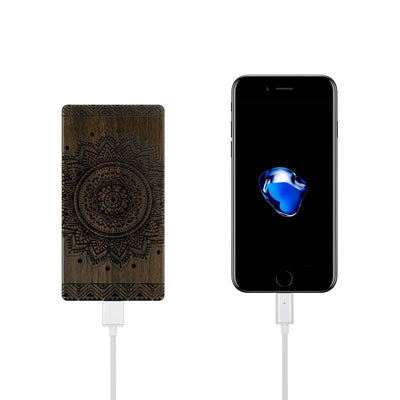Walnut Power Bank Charger - Sundala Mandala - Milkyway Cases -  iPhone - Samsung - Clear Cut Silicone Phone Case Cover