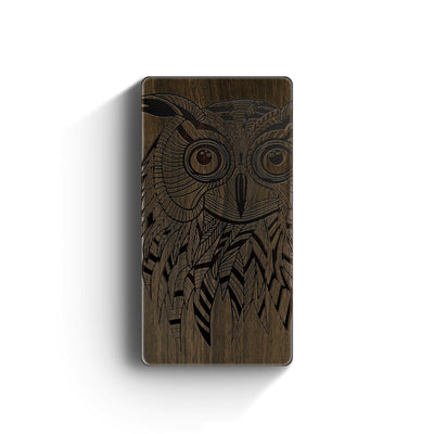 Walnut Power Bank Charger - Kwago Owl - Milkyway Cases -  iPhone - Samsung - Clear Cut Silicone Phone Case Cover