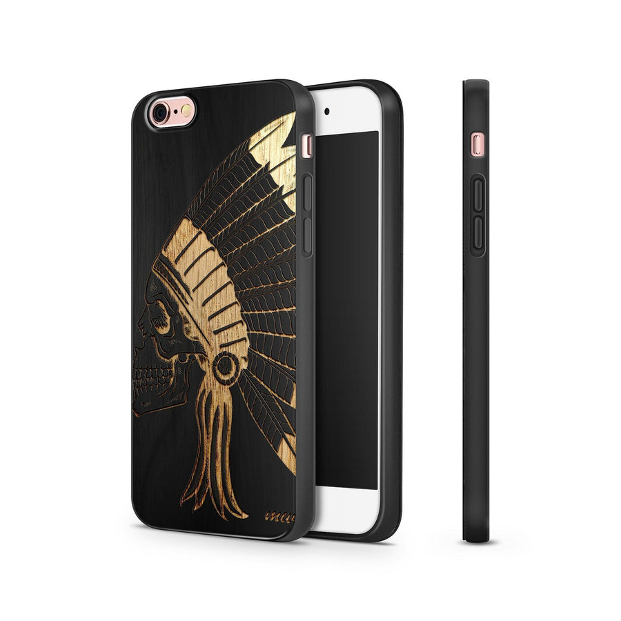 Black Bamboo - Chief Indian Skull - Milkyway Cases -  iPhone - Samsung - Clear Cut Silicone Phone Case Cover