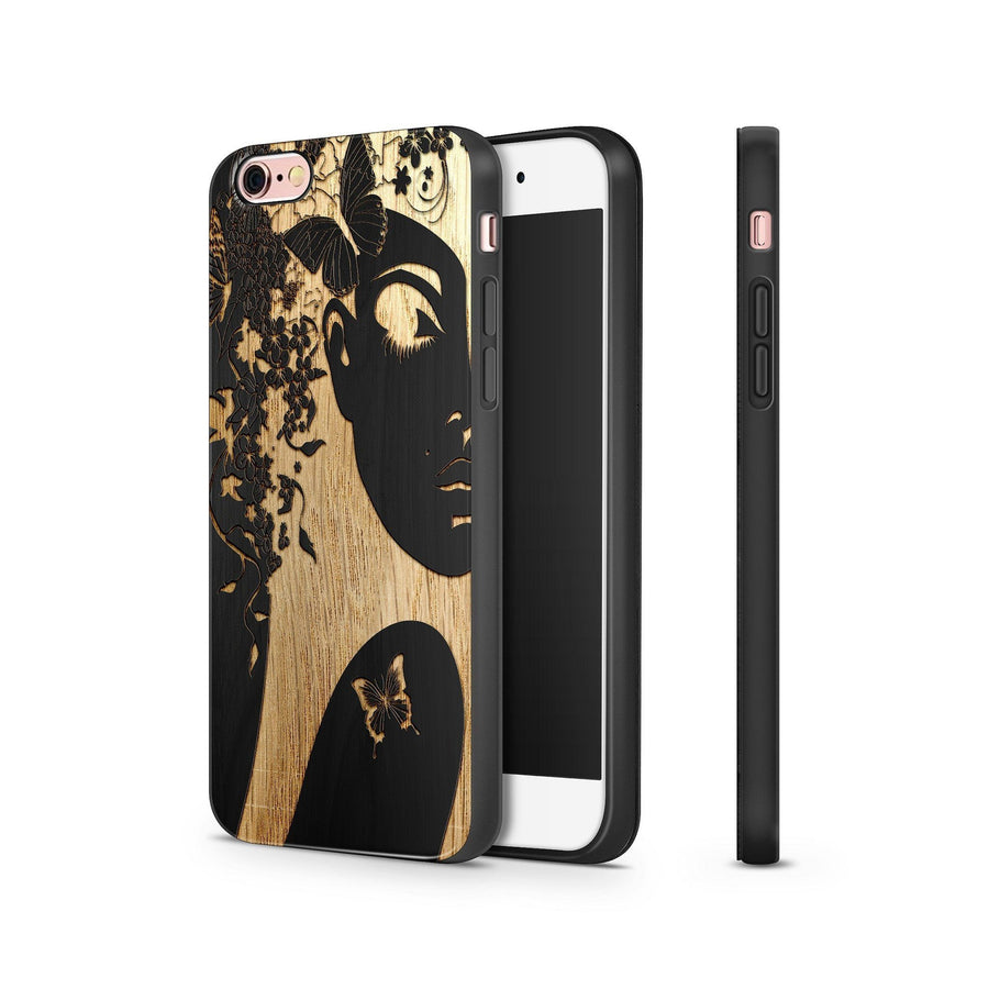 Black Bamboo - Butterfly Girl - Milkyway Cases -  iPhone - Samsung - Clear Cut Silicone Phone Case Cover