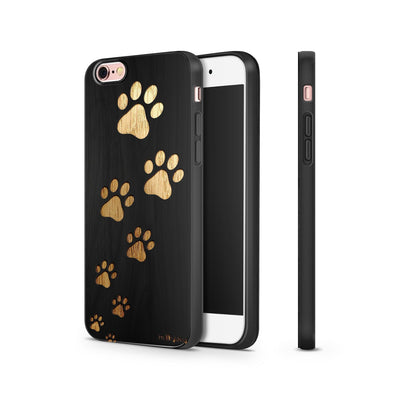 Black Bamboo - Paw Prints - Milkyway Cases -  iPhone - Samsung - Clear Cut Silicone Phone Case Cover