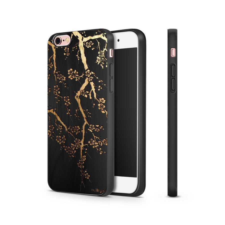 Black Bamboo - Cherry Blossom - Milkyway Cases -  iPhone - Samsung - Clear Cut Silicone Phone Case Cover