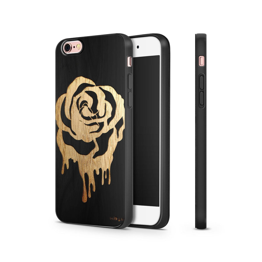 Black Bamboo - Dripping Rose - Milkyway Cases -  iPhone - Samsung - Clear Cut Silicone Phone Case Cover