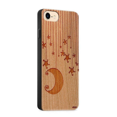 Wood  - Moon and Stars - Milkyway Cases -  iPhone - Samsung - Clear Cut Silicone Phone Case Cover