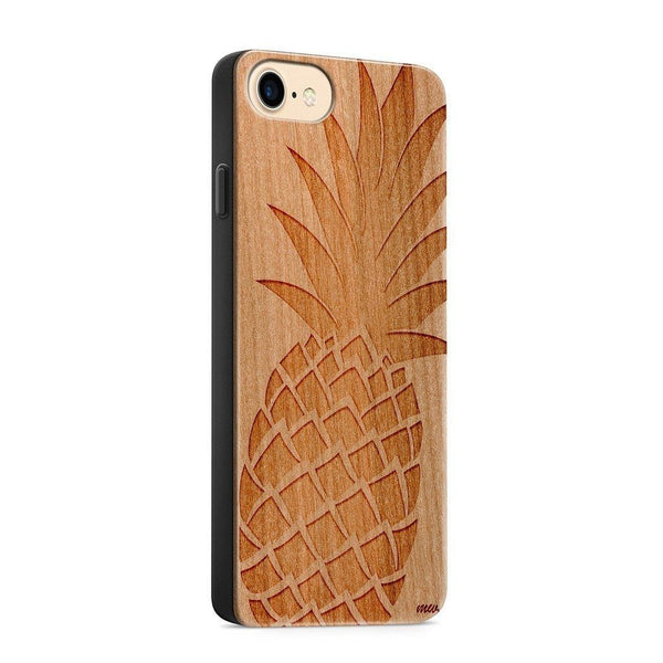 Wood  - Big Pineapple - Milkyway Cases -  iPhone - Samsung - Clear Cute Silicone Phone Case Cover