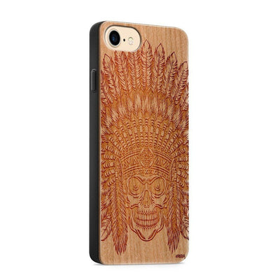 Wood  - Tomahawk Skull - Milkyway Cases -  iPhone - Samsung - Clear Cute Silicone Phone Case Cover