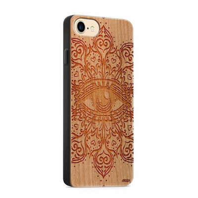 Wood  - The Eye Mandala - Milkyway Cases -  iPhone - Samsung - Clear Cute Silicone Phone Case Cover