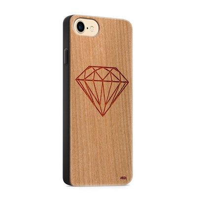 Wood  - Diamond - Milkyway Cases -  iPhone - Samsung - Clear Cute Silicone Phone Case Cover