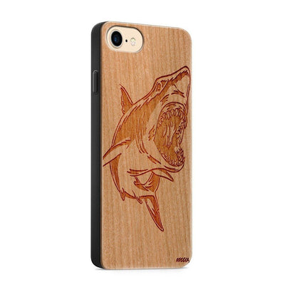 Wood  - Shark - Milkyway Cases -  iPhone - Samsung - Clear Cute Silicone Phone Case Cover