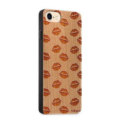Wood  - Lips Galore - Milkyway Cases -  iPhone - Samsung - Clear Cute Silicone Phone Case Cover
