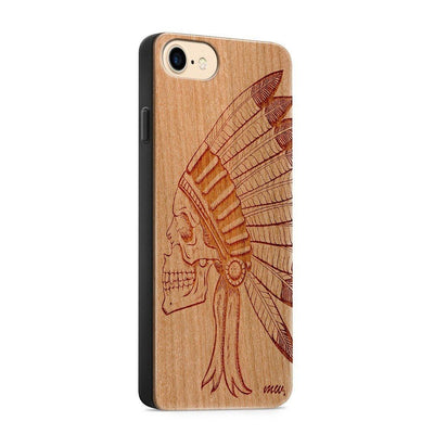 Wood  - Chief Indian Skull - Milkyway Cases -  iPhone - Samsung - Clear Cute Silicone Phone Case Cover