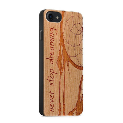 Wood  - Never Stop Dreaming - Milkyway Cases -  iPhone - Samsung - Clear Cut Silicone Phone Case Cover