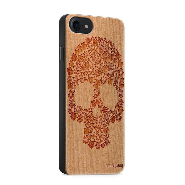 Wood  - Kahoy Floral Skull - Milkyway Cases -  iPhone - Samsung - Clear Cut Silicone Phone Case Cover