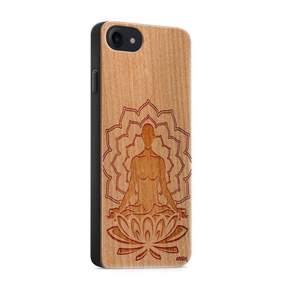 Wood  - Meditating Buddha - Milkyway Cases -  iPhone - Samsung - Clear Cut Silicone Phone Case Cover