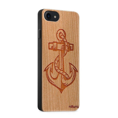 Wood  - Anchor - Milkyway Cases -  iPhone - Samsung - Clear Cute Silicone Phone Case Cover