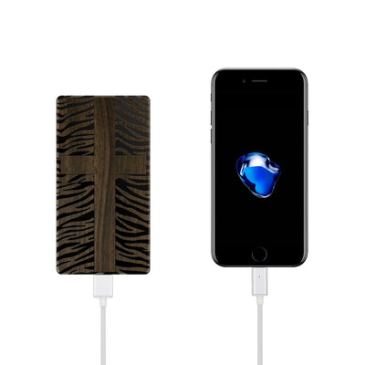 Walnut Power Bank Charger - Zebra Cross - Milkyway Cases -  iPhone - Samsung - Clear Cut Silicone Phone Case Cover