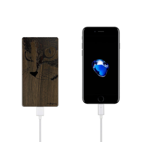 Walnut Power Bank Charger - Cat Eyes - Milkyway Cases -  iPhone - Samsung - Clear Cute Silicone Phone Case Cover