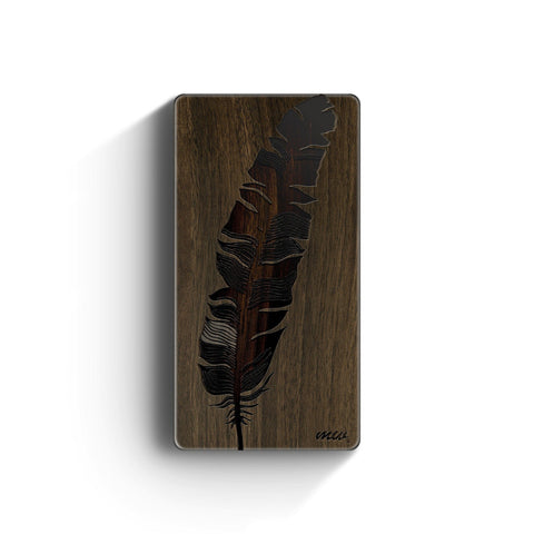 Walnut Power Bank Charger - Feather