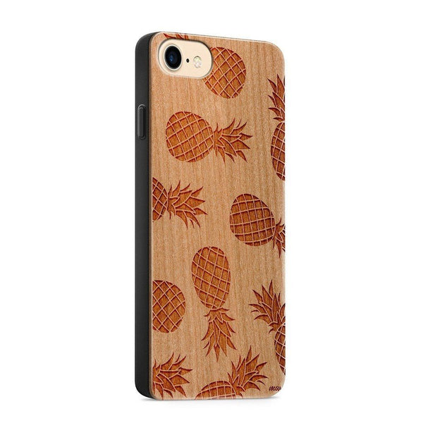 Wood  - Pineapple Pandemonium - Milkyway Cases -  iPhone - Samsung - Clear Cute Silicone Phone Case Cover