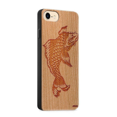 Wood  - Koi Fish - Milkyway Cases -  iPhone - Samsung - Clear Cute Silicone Phone Case Cover