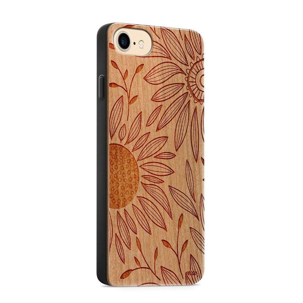 Wood  - Floral Patch - Milkyway Cases -  iPhone - Samsung - Clear Cut Silicone Phone Case Cover
