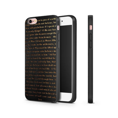 Black Bamboo - John 3:16 - Milkyway Cases -  iPhone - Samsung - Clear Cut Silicone Phone Case Cover