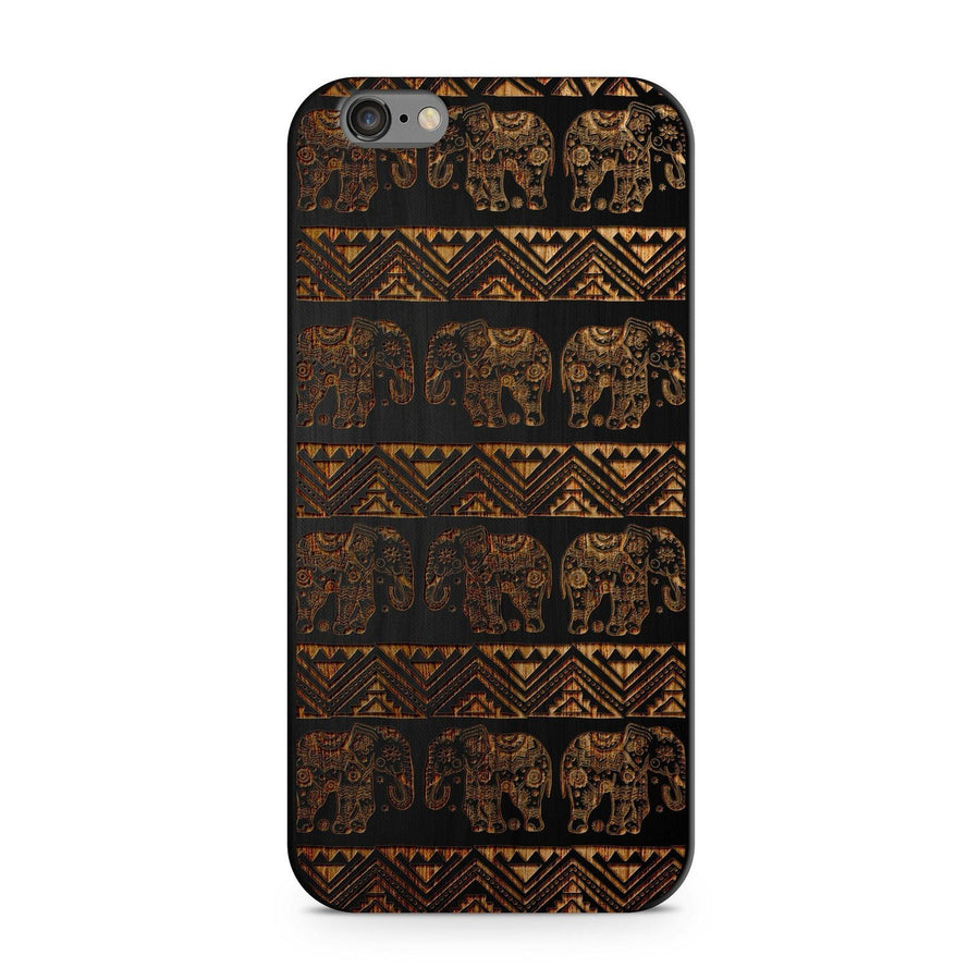 Aztec Lotus Elephant - Wood - iPhone Case