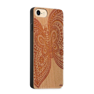 Wood  - Floral Butterfly - Milkyway Cases -  iPhone - Samsung - Clear Cute Silicone Phone Case Cover