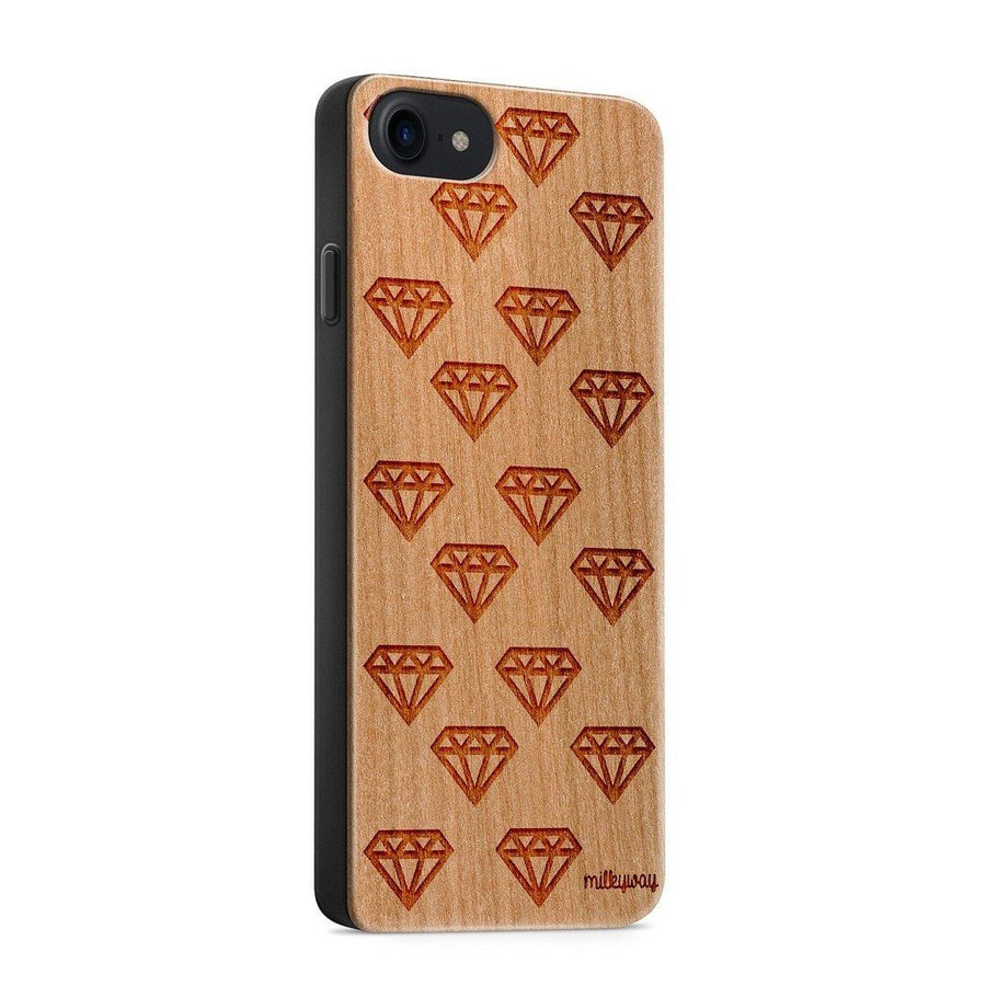Wood  - Diamonds are Forever - Milkyway Cases -  iPhone - Samsung - Clear Cute Silicone Phone Case Cover