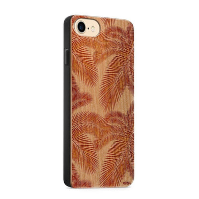 Wood  - Palm Leaves - Milkyway Cases -  iPhone - Samsung - Clear Cute Silicone Phone Case Cover