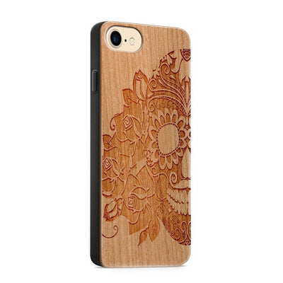 Wood  - Tres Rosas Skull - Milkyway Cases -  iPhone - Samsung - Clear Cute Silicone Phone Case Cover