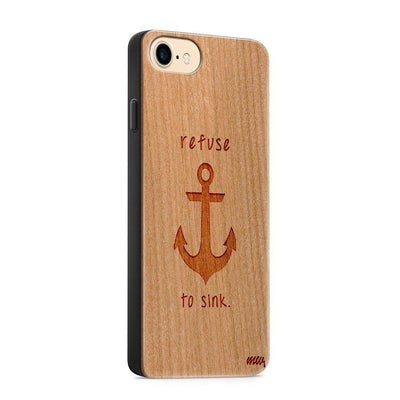 Wood  - Refuse To Sink - Milkyway Cases -  iPhone - Samsung - Clear Cute Silicone Phone Case Cover