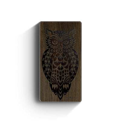 Walnut Power Bank Charger - Tribal Owl - Milkyway Cases -  iPhone - Samsung - Clear Cut Silicone Phone Case Cover