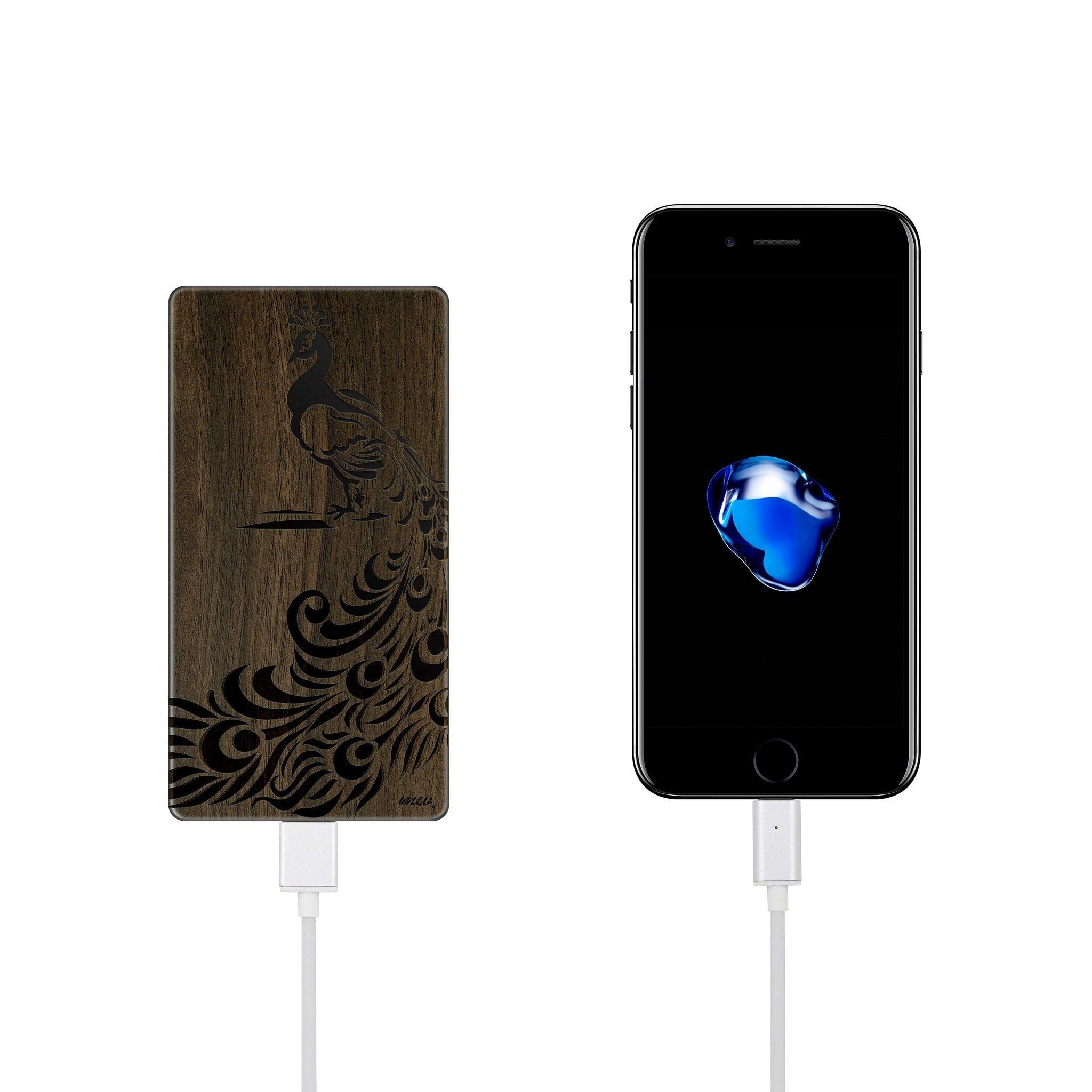 Walnut Power Bank Charger - Peacock