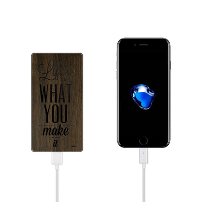 Walnut Power Bank Charger - Life is What You Make It - Milkyway Cases -  iPhone - Samsung - Clear Cut Silicone Phone Case Cover