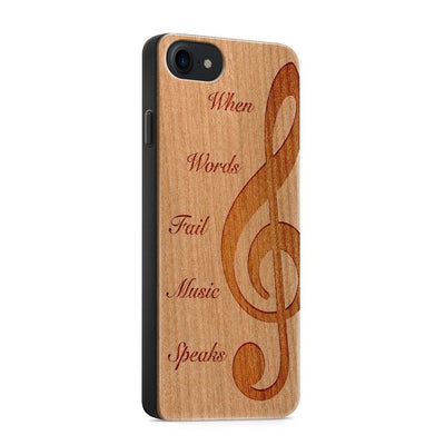 Wood  - When Music Speaks - Milkyway Cases -  iPhone - Samsung - Clear Cute Silicone Phone Case Cover
