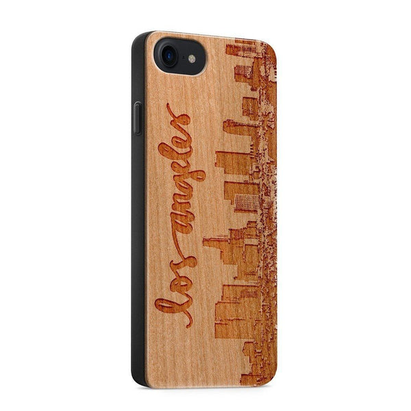 Wood  - Los Angeles Skyline - Milkyway Cases -  iPhone - Samsung - Clear Cute Silicone Phone Case Cover
