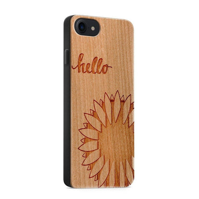 Wood  - Hello Sunshine - Milkyway Cases -  iPhone - Samsung - Clear Cut Silicone Phone Case Cover