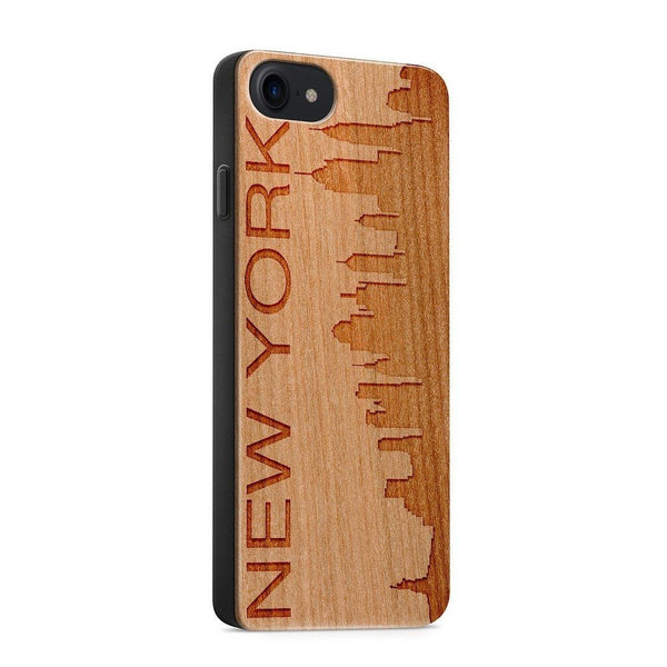 Wood  - New York Skyline - Milkyway Cases -  iPhone - Samsung - Clear Cute Silicone Phone Case Cover