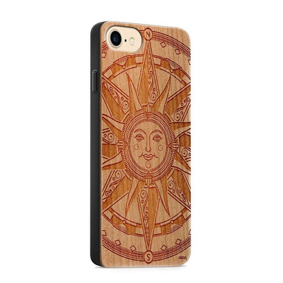 Wood  - Compass Tribal Sun - Milkyway Cases -  iPhone - Samsung - Clear Cute Silicone Phone Case Cover