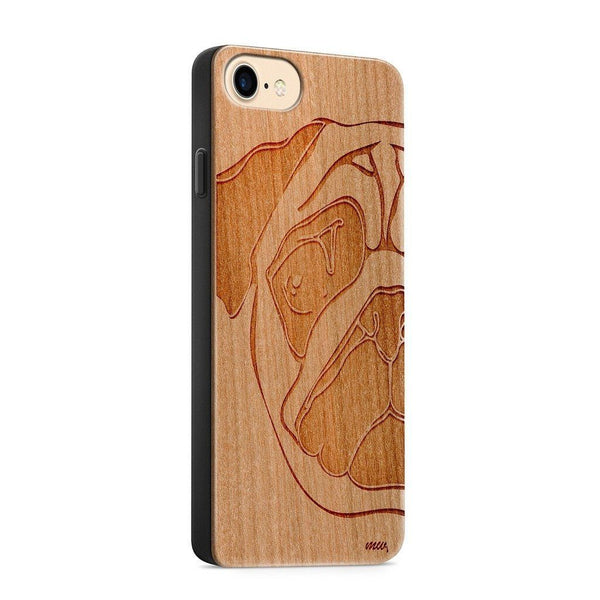 Wood  - Pug - Milkyway Cases -  iPhone - Samsung - Clear Cute Silicone Phone Case Cover