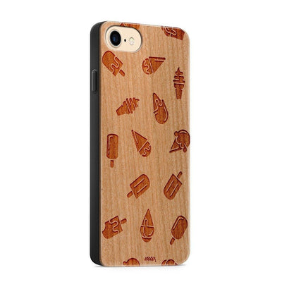 Wood  - Ice Cream - Milkyway Cases -  iPhone - Samsung - Clear Cute Silicone Phone Case Cover