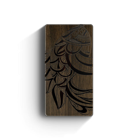 Walnut Power Bank Charger - Abstract Fish