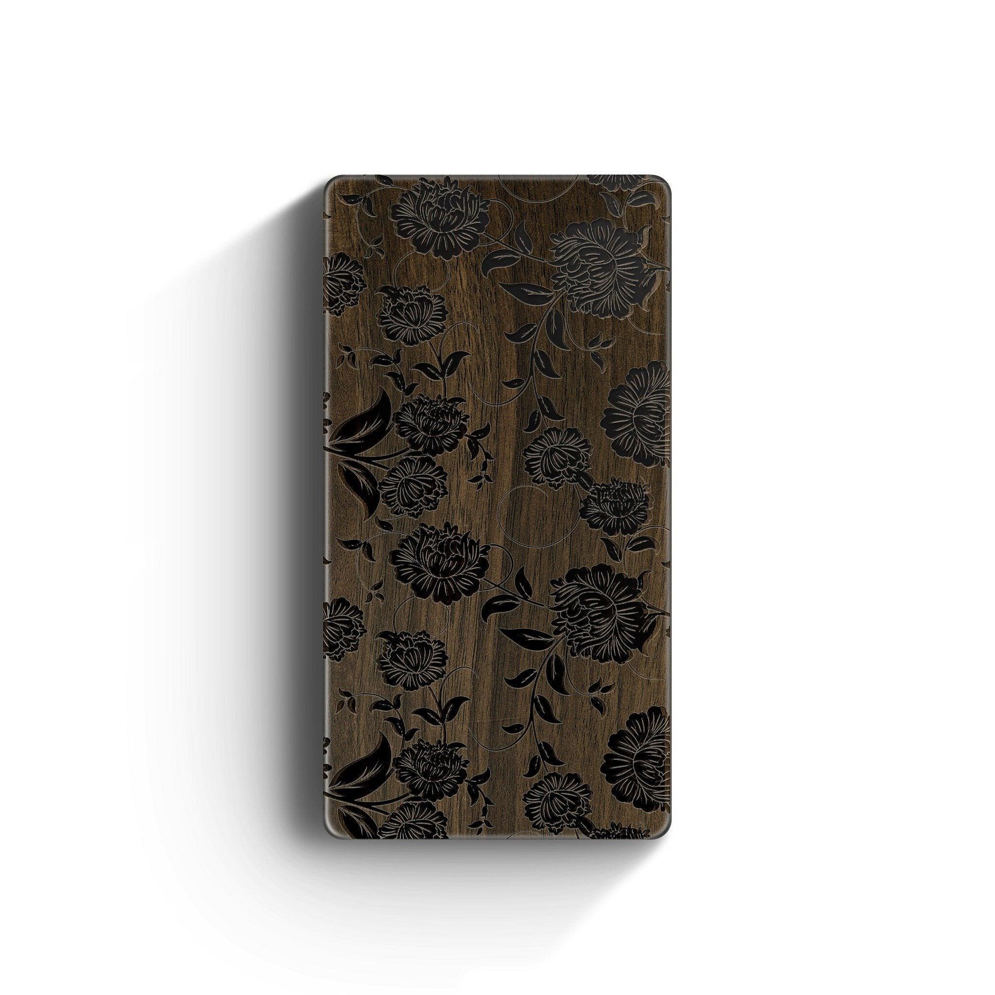 Walnut Power Bank Charger - Chrysanthemum
