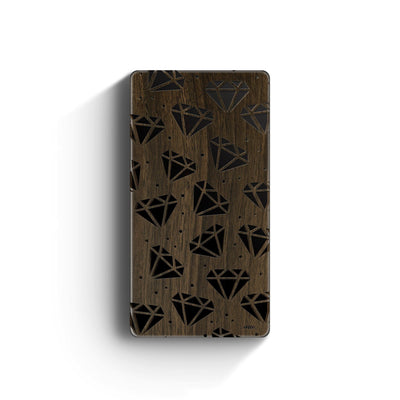 Walnut Power Bank Charger - Galactic Diamonds - Milkyway Cases -  iPhone - Samsung - Clear Cut Silicone Phone Case Cover