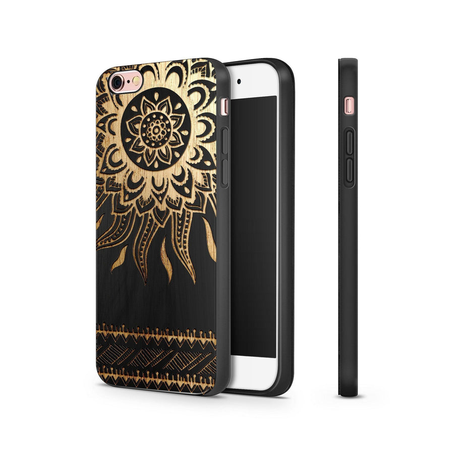 Black Bamboo - Aztec Sun - Milkyway Cases -  iPhone - Samsung - Clear Cut Silicone Phone Case Cover